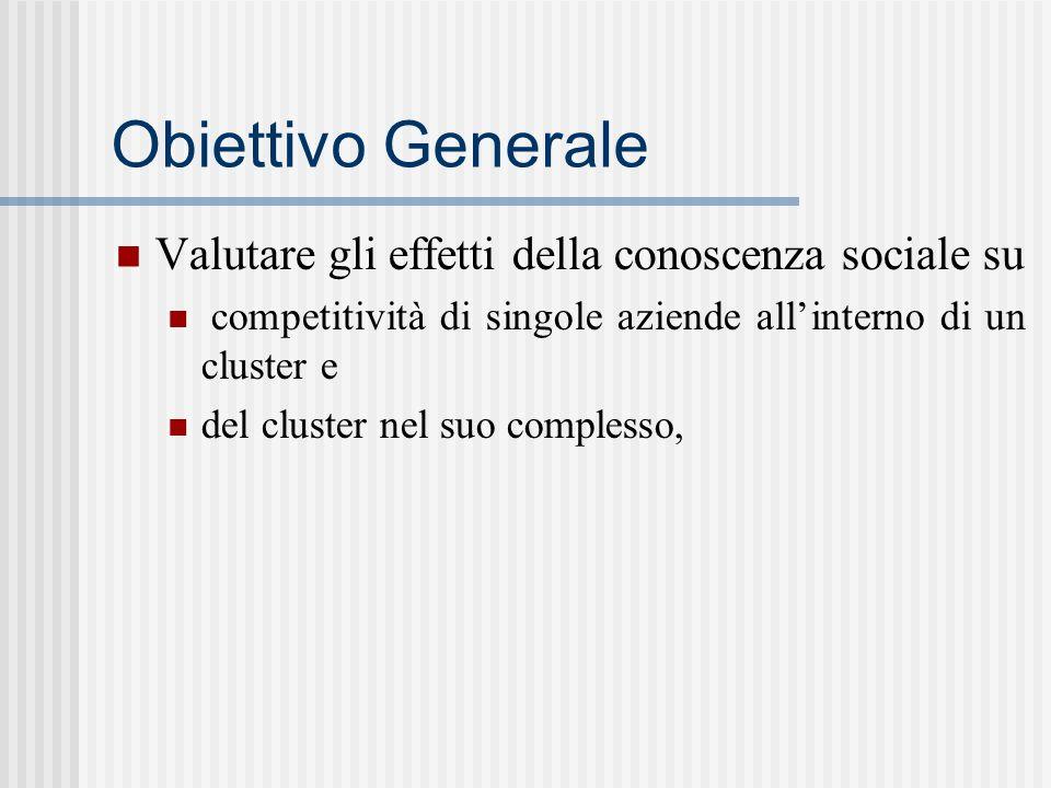 Obiettivo Generale Valutare gli effetti della conoscenza sociale su