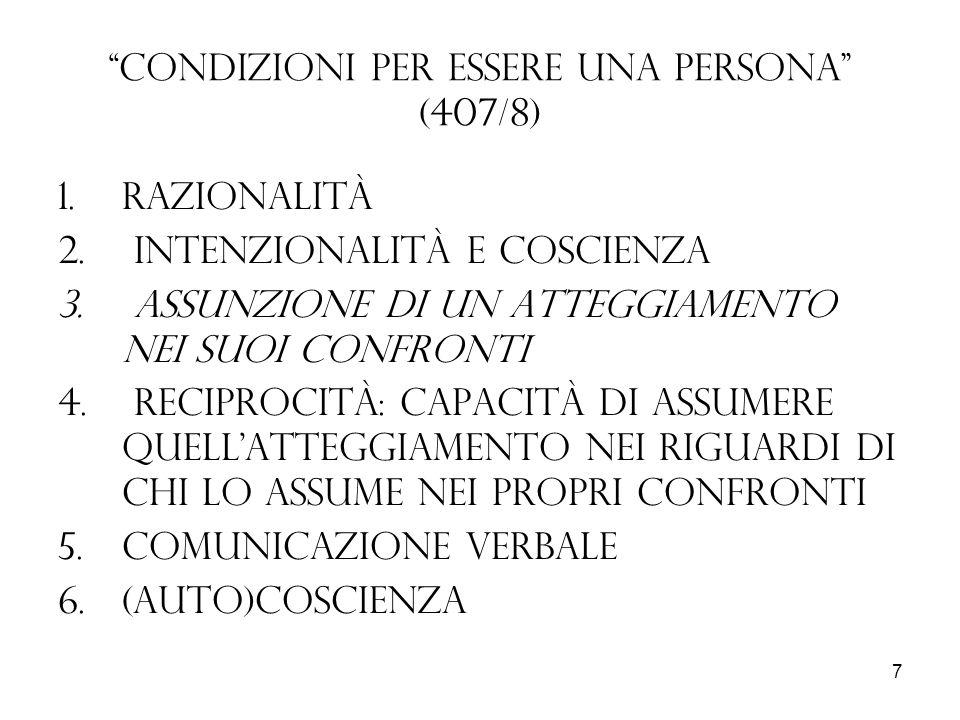 Condizioni per essere una persona (407/8)