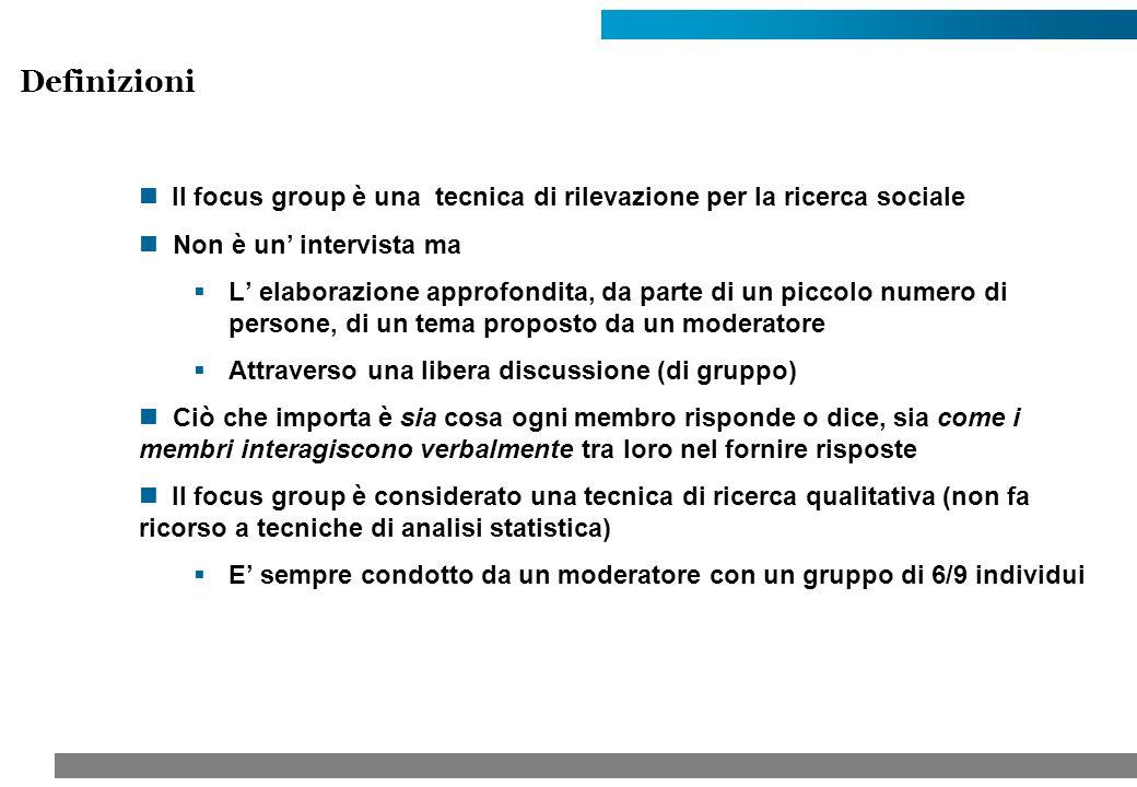 Il focus group è una tecnica di rilevazione per la ricerca sociale