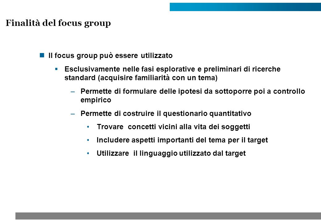 Finalità del focus group