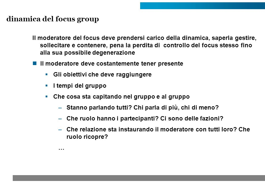 dinamica del focus group