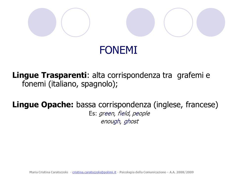 FONEMI Lingue Trasparenti: alta corrispondenza tra grafemi e fonemi (italiano, spagnolo); Lingue Opache: bassa corrispondenza (inglese, francese)