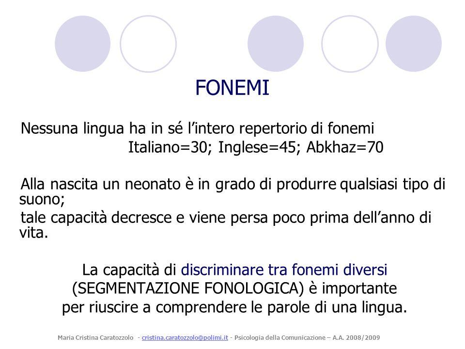 FONEMI Nessuna lingua ha in sé l'intero repertorio di fonemi