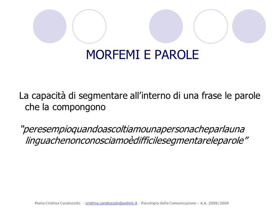 MORFEMI E PAROLE La capacità di segmentare all'interno di una frase le parole che la compongono.