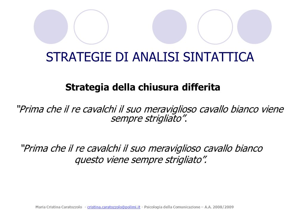 STRATEGIE DI ANALISI SINTATTICA