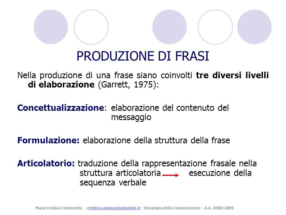 PRODUZIONE DI FRASI Nella produzione di una frase siano coinvolti tre diversi livelli di elaborazione (Garrett, 1975):