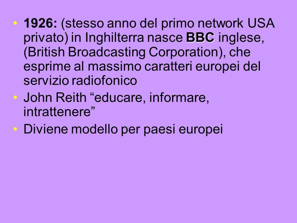 1926: (stesso anno del primo network USA privato) in Inghilterra nasce BBC inglese, (British Broadcasting Corporation), che esprime al massimo caratteri europei del servizio radiofonico