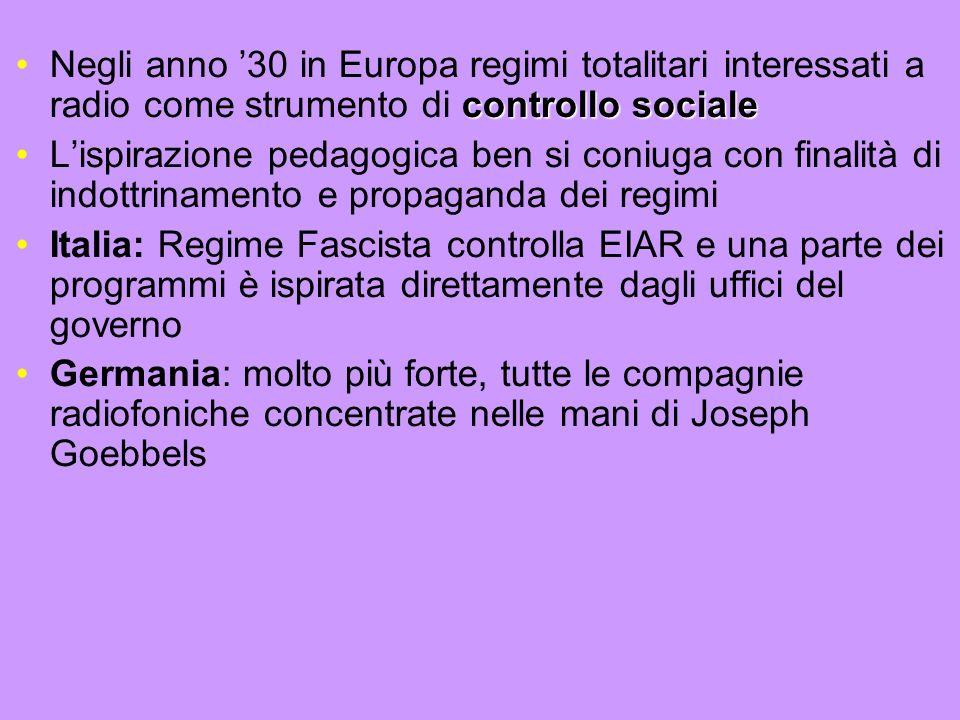Negli anno '30 in Europa regimi totalitari interessati a radio come strumento di controllo sociale