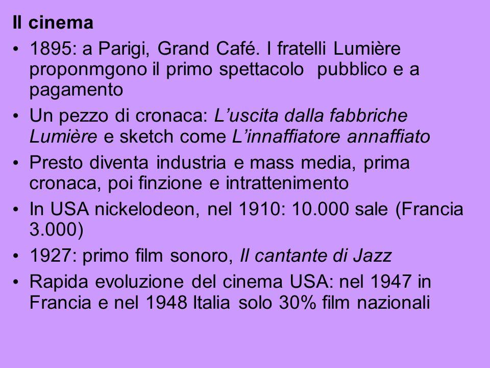 Il cinema 1895: a Parigi, Grand Café. I fratelli Lumière proponmgono il primo spettacolo pubblico e a pagamento.