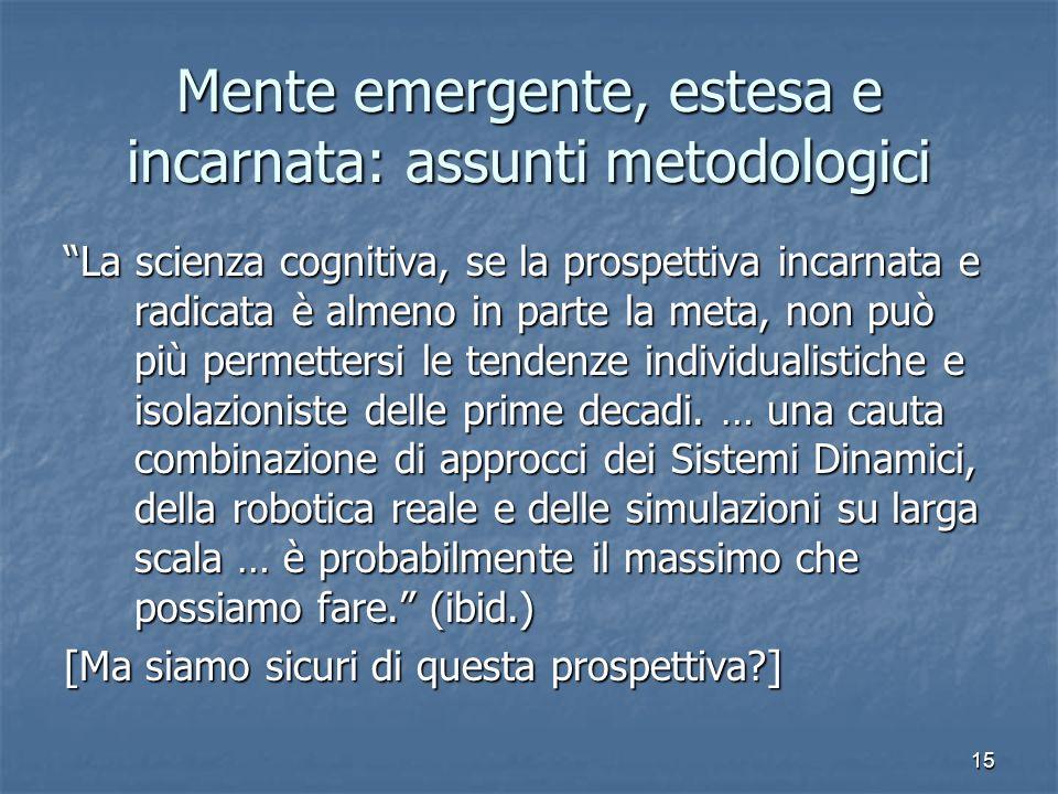 Mente emergente, estesa e incarnata: assunti metodologici