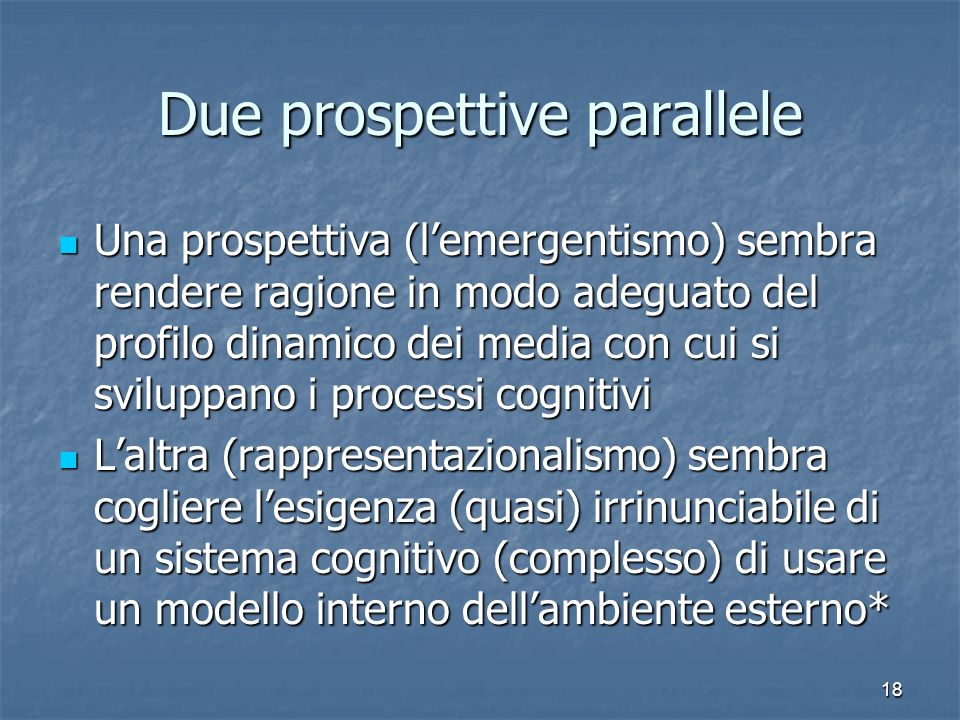 Due prospettive parallele