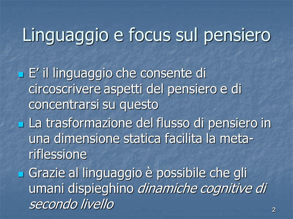 Linguaggio e focus sul pensiero