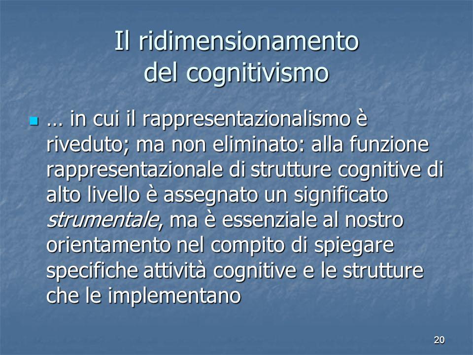Il ridimensionamento del cognitivismo