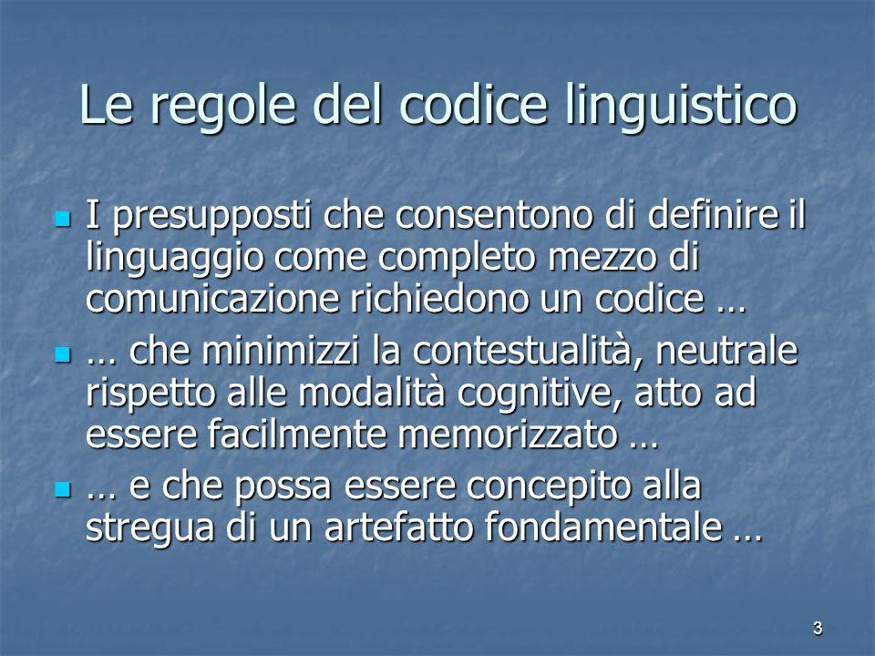 Le regole del codice linguistico