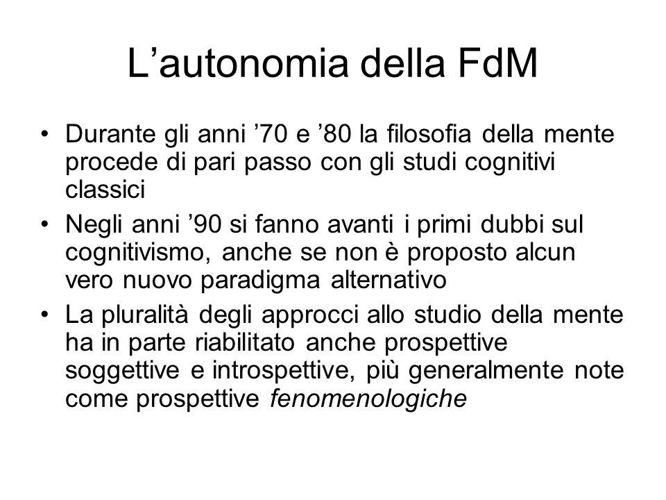 L'autonomia della FdM Durante gli anni '70 e '80 la filosofia della mente procede di pari passo con gli studi cognitivi classici.