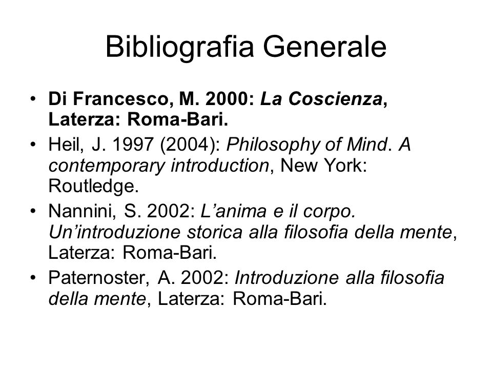 Bibliografia Generale