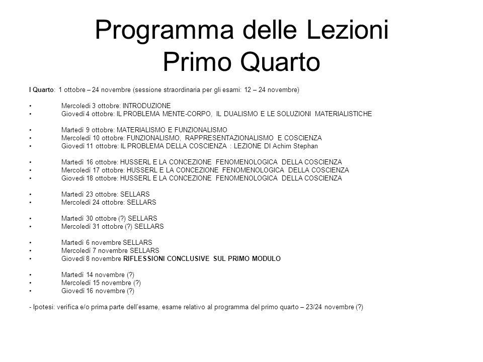 Programma delle Lezioni Primo Quarto
