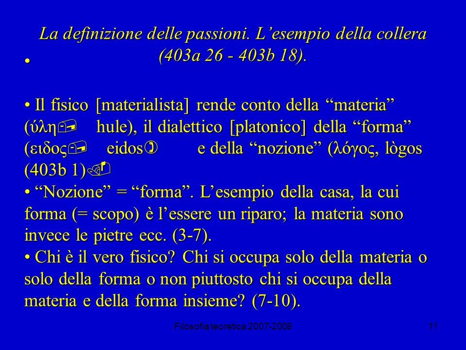 La definizione delle passioni