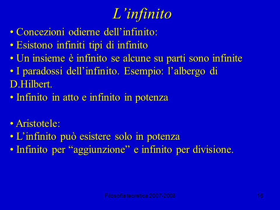 L'infinito Concezioni odierne dell'infinito: