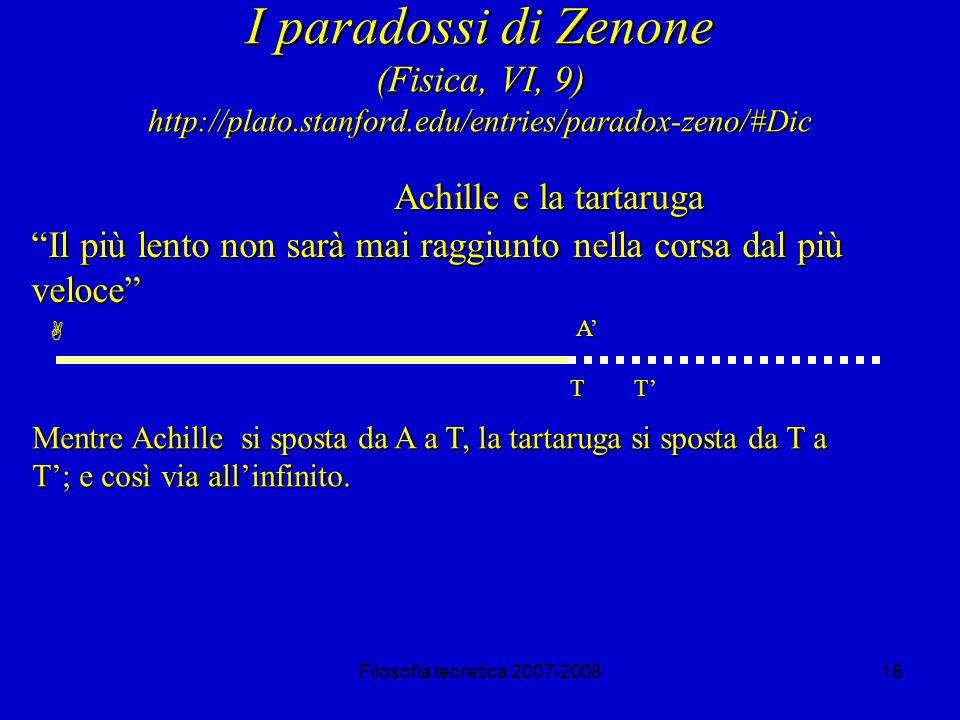 I paradossi di Zenone (Fisica, VI, 9) http://plato. stanford