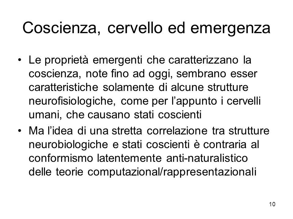 Coscienza, cervello ed emergenza