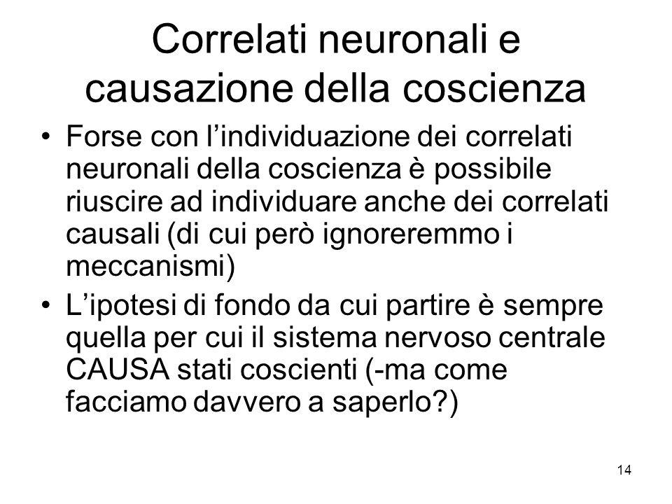 Correlati neuronali e causazione della coscienza