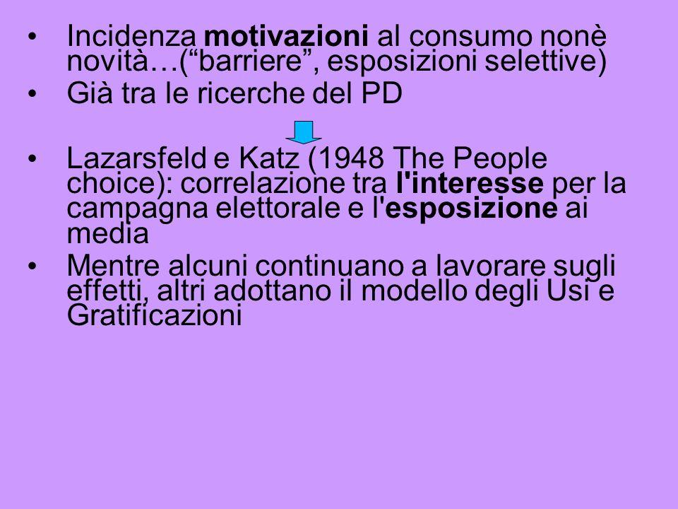 Incidenza motivazioni al consumo nonè novità…( barriere , esposizioni selettive)