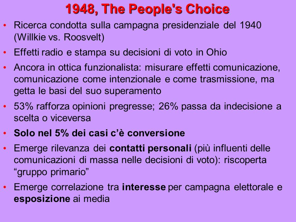 1948, The People s Choice Ricerca condotta sulla campagna presidenziale del 1940 (Willkie vs. Roosvelt)‏