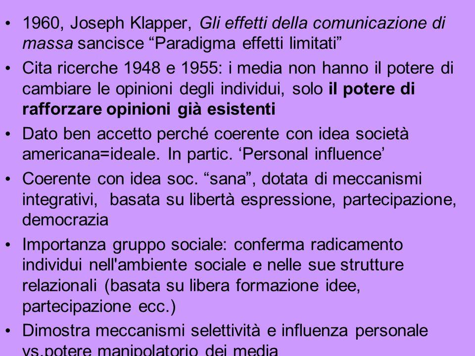 1960, Joseph Klapper, Gli effetti della comunicazione di massa sancisce Paradigma effetti limitati