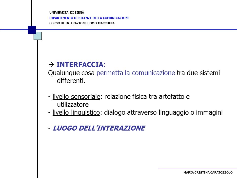  INTERFACCIA:Qualunque cosa permetta la comunicazione tra due sistemi differenti.