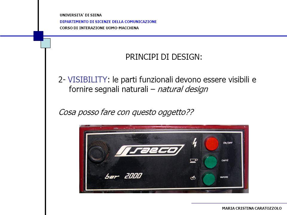 PRINCIPI DI DESIGN: 2- VISIBILITY: le parti funzionali devono essere visibili e fornire segnali naturali – natural design.