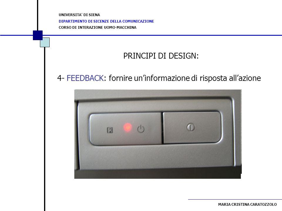 PRINCIPI DI DESIGN: 4- FEEDBACK: fornire un'informazione di risposta all'azione