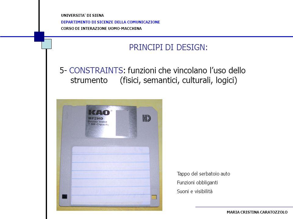 PRINCIPI DI DESIGN: 5- CONSTRAINTS: funzioni che vincolano l'uso dello strumento (fisici, semantici, culturali, logici)