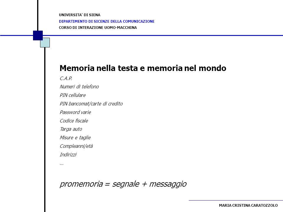 Memoria nella testa e memoria nel mondo