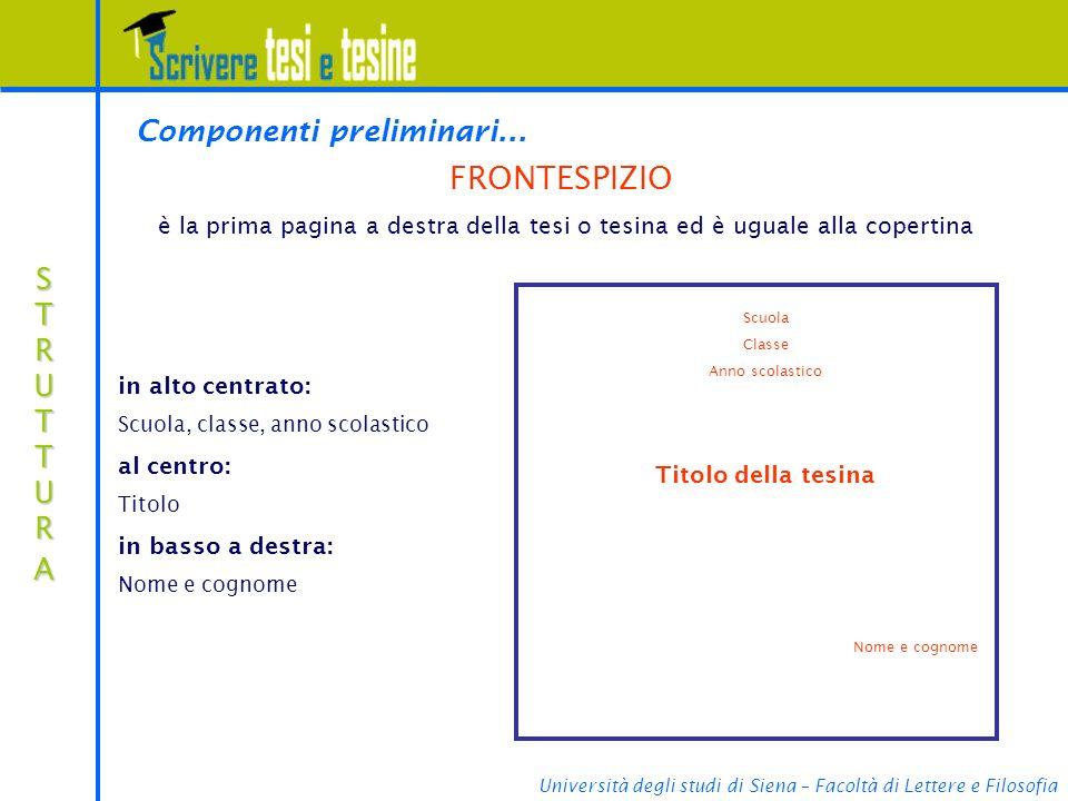 FRONTESPIZIO Componenti preliminari... STRUTTURA