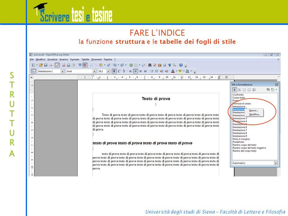 FARE L'INDICE la funzione struttura e le tabelle dei fogli di stile
