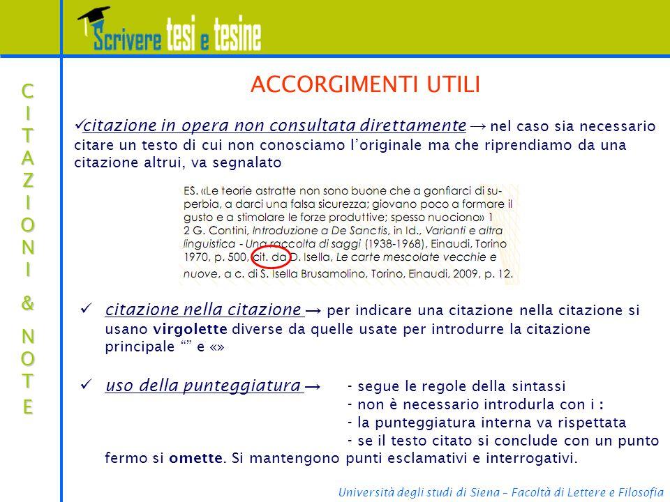 ACCORGIMENTI UTILI CITAZIONI & NOTE
