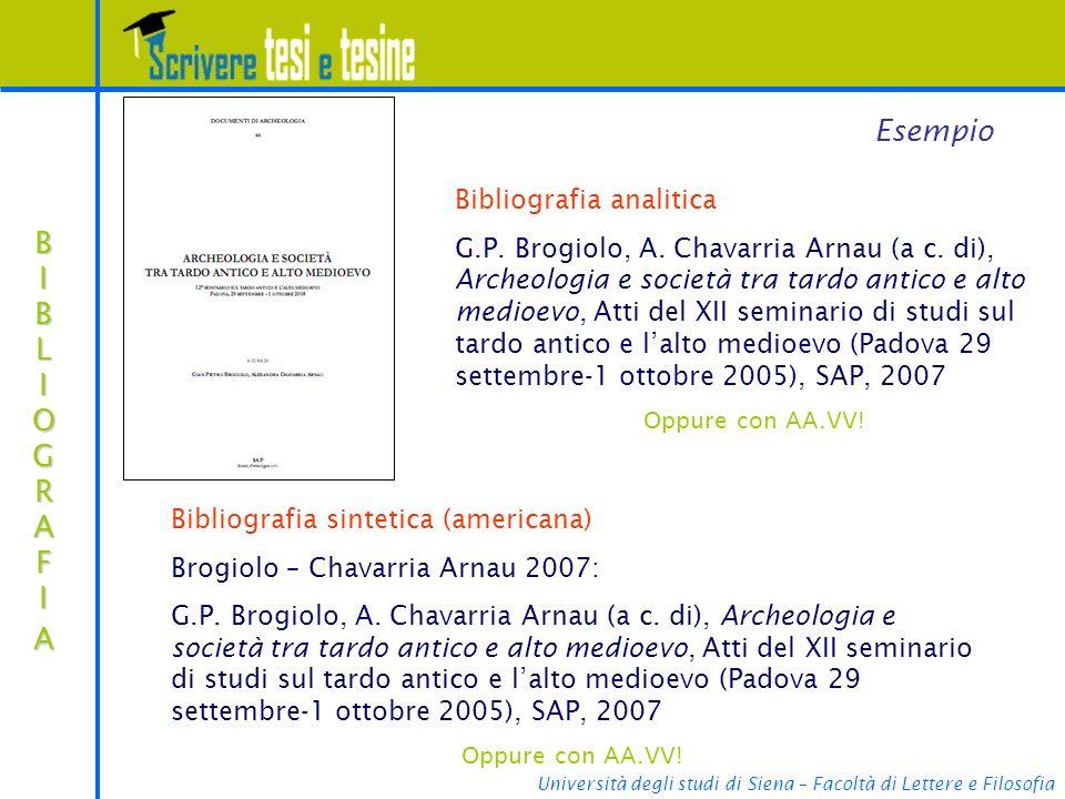 Esempio BIBLIOGRAFIA Bibliografia analitica