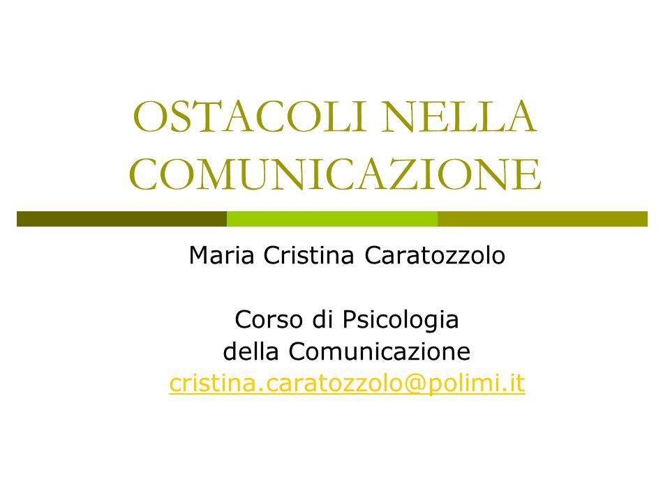 OSTACOLI NELLA COMUNICAZIONE
