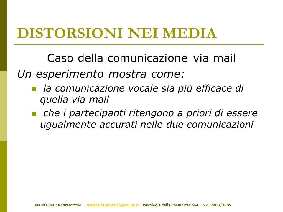 Caso della comunicazione via mail