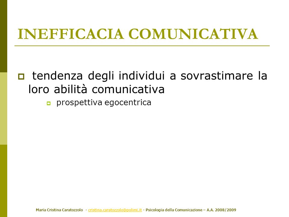 INEFFICACIA COMUNICATIVA