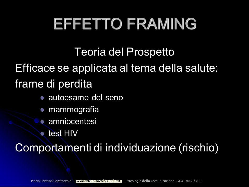 EFFETTO FRAMING Teoria del Prospetto