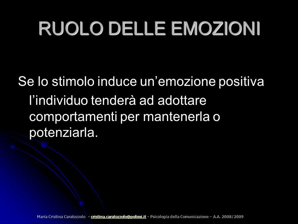 RUOLO DELLE EMOZIONI Se lo stimolo induce un'emozione positiva