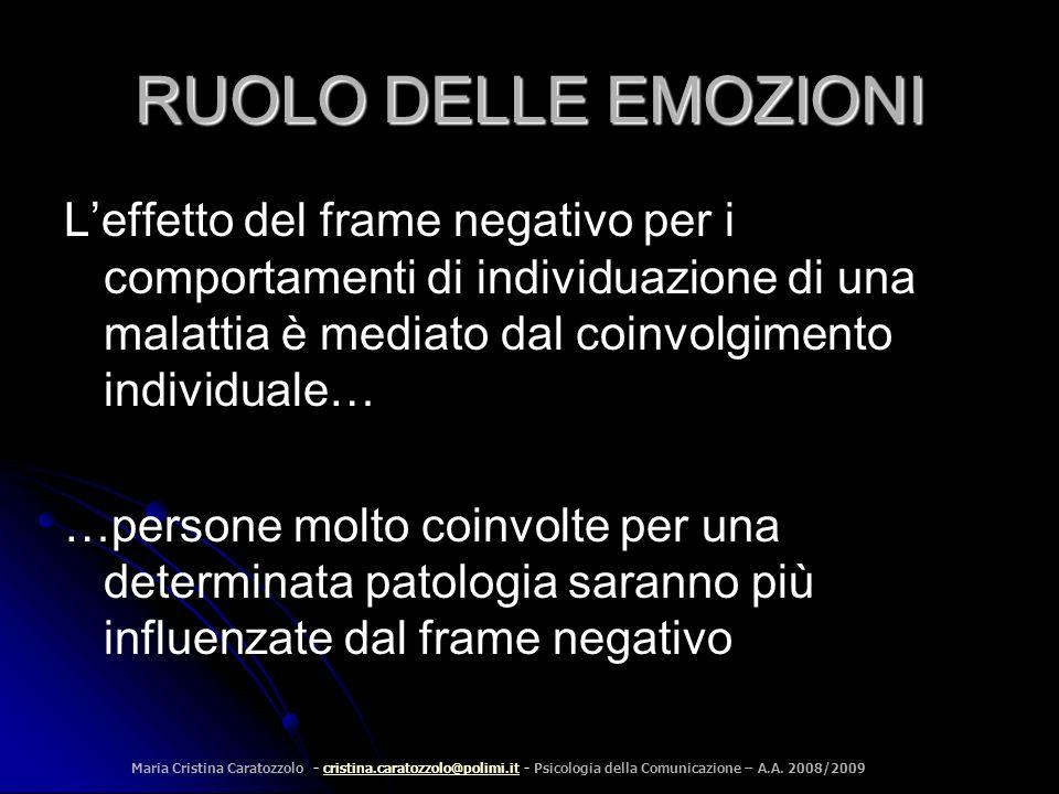 RUOLO DELLE EMOZIONI L'effetto del frame negativo per i comportamenti di individuazione di una malattia è mediato dal coinvolgimento individuale…