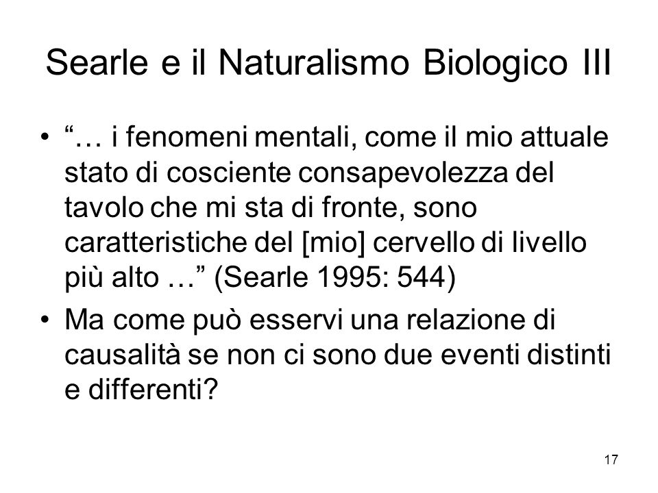 Searle e il Naturalismo Biologico III