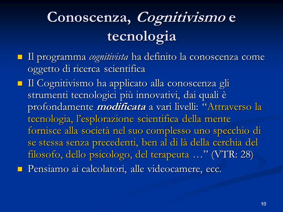 Conoscenza, Cognitivismo e tecnologia