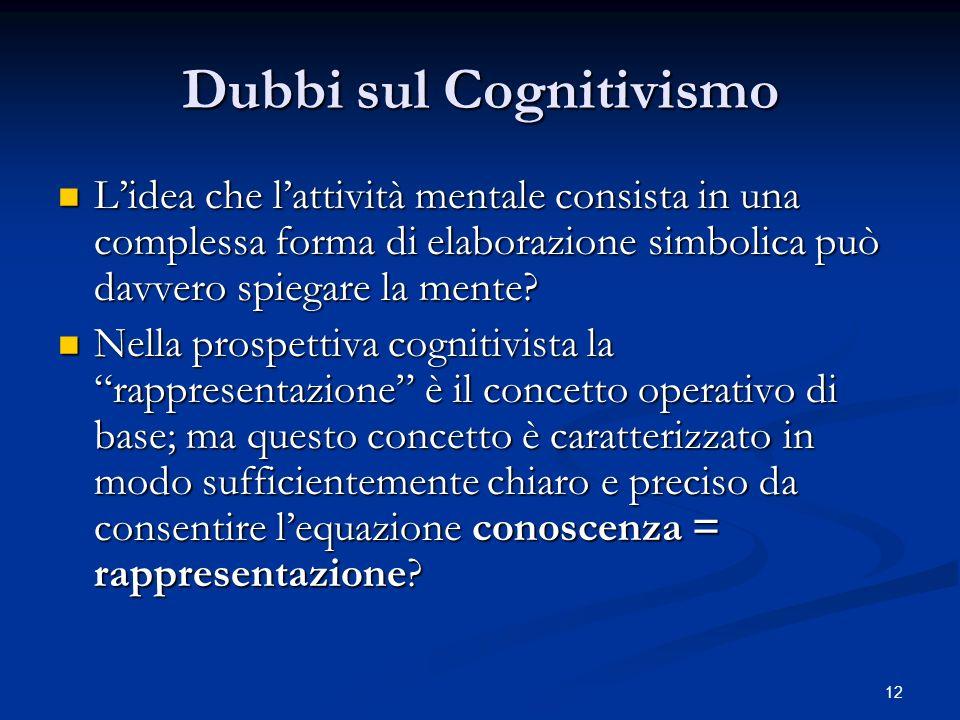 Dubbi sul Cognitivismo