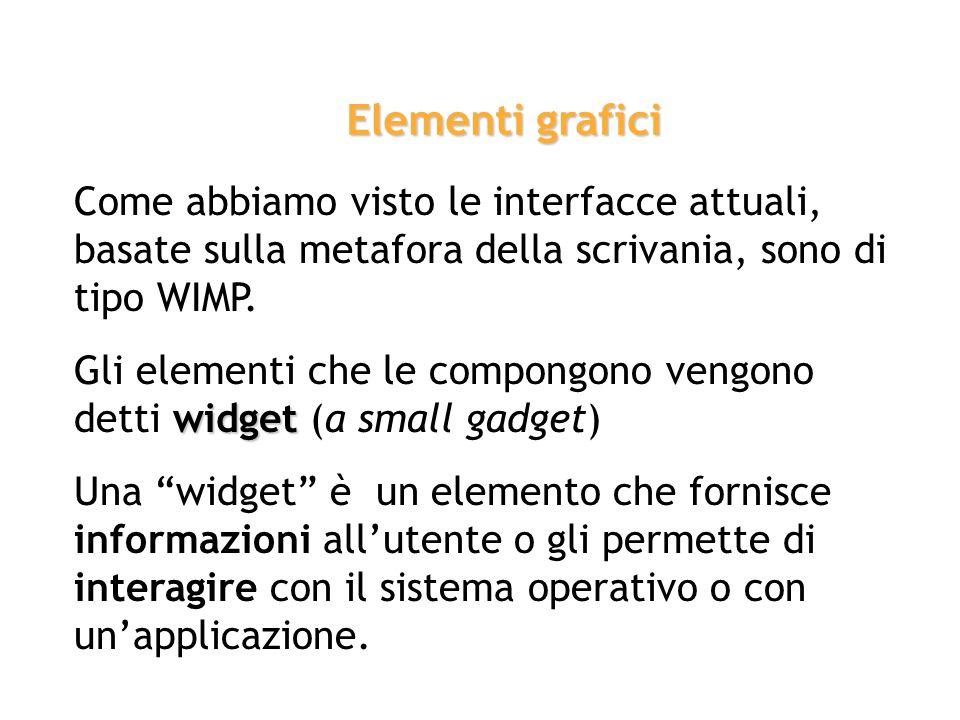 Elementi grafici Come abbiamo visto le interfacce attuali, basate sulla metafora della scrivania, sono di tipo WIMP.