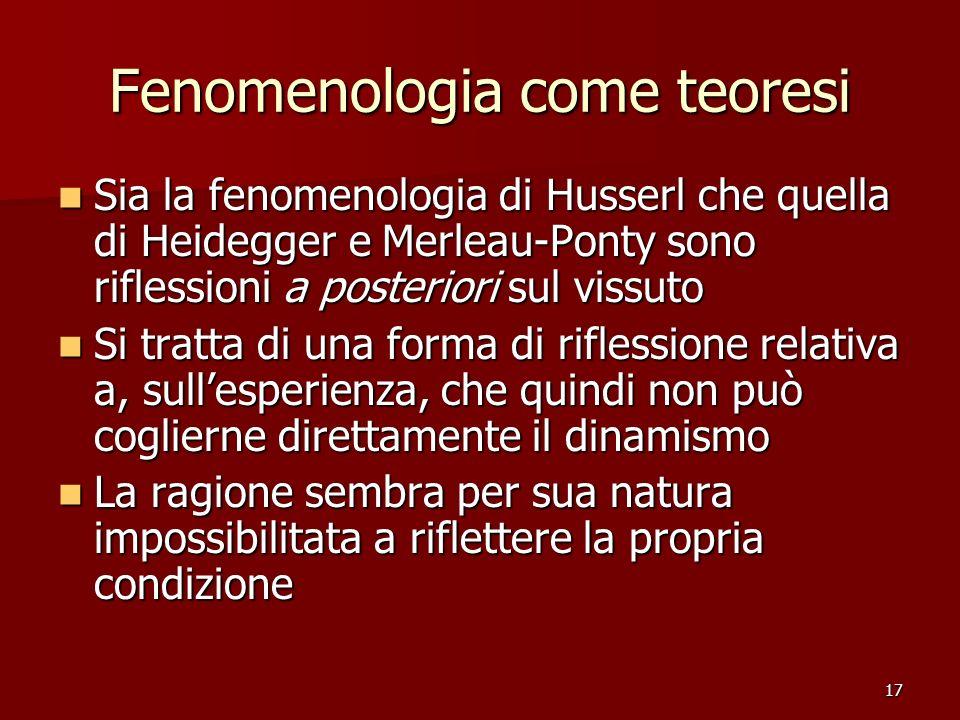 Fenomenologia come teoresi