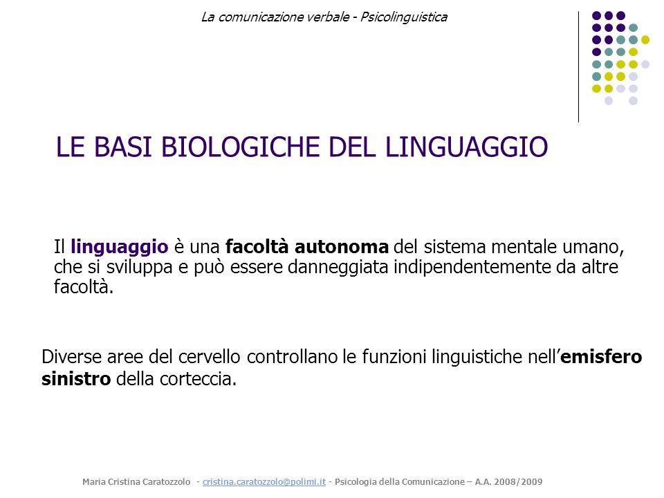 LE BASI BIOLOGICHE DEL LINGUAGGIO